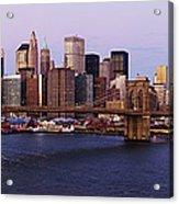 Lower Manhattan Skyline And Brooklyn Bridge At Dawn Acrylic Print