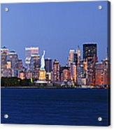 Lower Manhattan Skyline At Dusk Acrylic Print by Jeremy Woodhouse