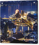 Lucerne At Night From Above Acrylic Print by George Oze