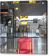 Luggage Sitting Alone In An Airport Terminal Acrylic Print