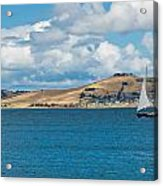 Luxury Yacht Sails In Blue Waters Along A Summer Coast Line Acrylic Print