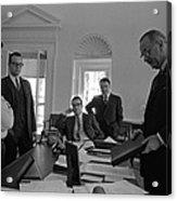 Lyndon Johnson With Former Kennedy Acrylic Print by Everett