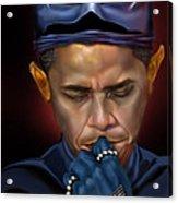 Mad Men Series 1 Of 6 - President Obama The Dark Knight Acrylic Print