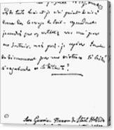 Madame De Stael Letter Acrylic Print