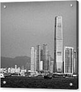 Madeira Hydrofoil Macau Ferry Speeds Towards Kowloon Skyline Hong Kong Hksar China Asia Acrylic Print by Joe Fox