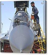 Maintainers Prepare A Sukhoi Su-30 Acrylic Print
