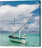 Maldivian Boat Dhoni On The Peaceful Water Of The Blue Lagoon Acrylic Print