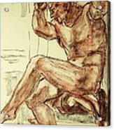Male Nude Figure Drawing Sketch With Power Dynamics Struggle Angst Fear And Trepidation In Charcoal Acrylic Print