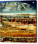 Mammoth Terrace - Yellowstone Acrylic Print by Ellen Heaverlo