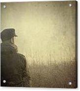 Man Alone In Autumn Field Acrylic Print