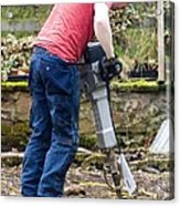 Man Breaking Concrete With A Jack Hammer. Acrylic Print by Mark Williamson