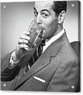 Man Drinking Water From Glass, Posing In Studio, (b&w), Portrait Acrylic Print by George Marks