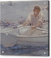 Man In A Rowing Boat Acrylic Print