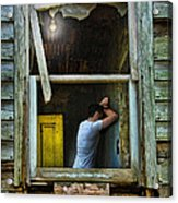 Man In Ruined House Acrylic Print