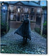 Man In Top Hat And Cape On Cobblestone Street Acrylic Print