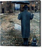 Man In Vintage Clothing With Umbrella On Rainy Brick Street Acrylic Print