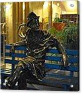 Man On A Bench In Prague Acrylic Print