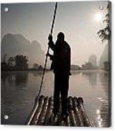 Man On Raft In Mountain Area Yulong Acrylic Print