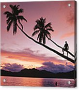 Man, Palm Trees, And Bather Silhouetted Acrylic Print