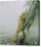 Man Reefing Mainsail In Heavy Weather Acrylic Print