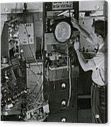 Man Testing Early Television Equipment Acrylic Print