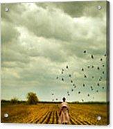 Man Walking In A Farm Field Acrylic Print