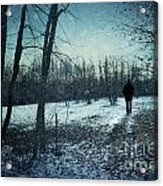 Man Walking In Snow At Winter Twilight Acrylic Print by Sandra Cunningham