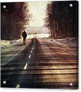 Man Walking On A Rural Winter Road Acrylic Print