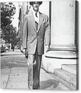 Man Walking On Sidewalk, (b&w) Acrylic Print by George Marks