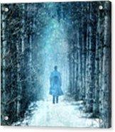 Man Walking Through Snowy Woods Acrylic Print
