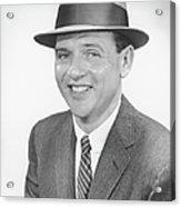 Man Wearing Hat, Posing In Studio, (b&w), Portrait Acrylic Print