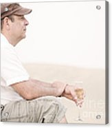 Man With Glass Of Champagner In The Dunes Acrylic Print by Iryna Shpulak