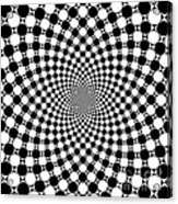 Mandala Figure Number 9 With Black And White Circles Acrylic Print