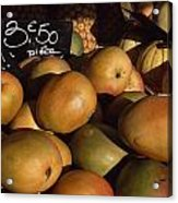 Mangoes And Melons Priced In Euros Acrylic Print by David Evans