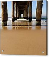 Manhattan Beach Pier Paddler Acrylic Print