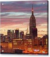 Manhattan Buildings And Pre-sunrise Sky Acrylic Print