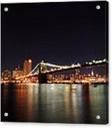 Manhattan Nightscape With Brooklyn Bridge Acrylic Print