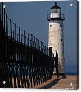 Manistee Harbor Lighthouse And Cat Walk Acrylic Print