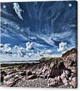 Manorbier Rocks Big Sky Acrylic Print