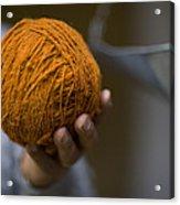 Mans Hand Holds Ball Of Orange Wool Acrylic Print