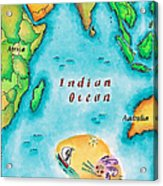 Map Of The Indian Ocean Acrylic Print by Jennifer Thermes