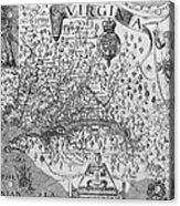 Map Of Virginia, 1624 Acrylic Print