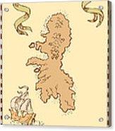 Map Treasure Island Tall Ship Acrylic Print