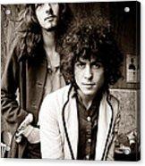 Marc Bolan T Rex 1969 Sepia Acrylic Print by Chris Walter