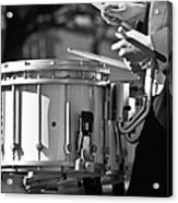 Marching Band Drummer Boy Bw Acrylic Print