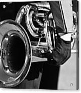 Marching Band Horn Bw Acrylic Print