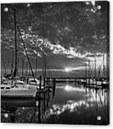 Marina At Fort Monroe Bw Acrylic Print