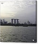 Marina Bay Sands And Flyer Along With Singapore Skyline From The Acrylic Print