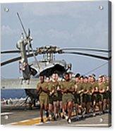 Marines And Sailors Run Aboard Uss Acrylic Print