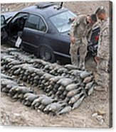 Marines Discover A Weapons Cache Acrylic Print by Stocktrek Images